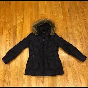 Women's London Fog Fur Trim Hooded Puffer Jacket